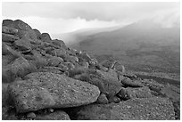Boulders and rain showers, from South Turner Mountain. Baxter State Park, Maine, USA ( black and white)