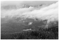Clearing storm from above. Baxter State Park, Maine, USA (black and white)