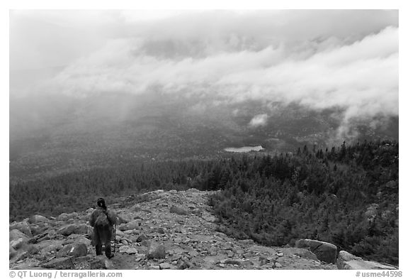 Hiker descending South Turner Mountain under the rain. Baxter State Park, Maine, USA (black and white)
