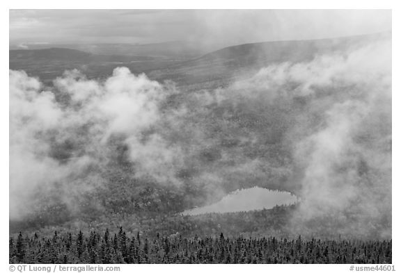 Rainy landscape with clouds floating. Baxter State Park, Maine, USA (black and white)