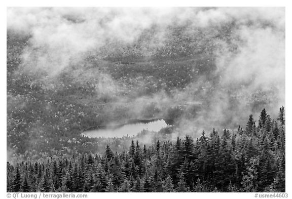 Clouds lifting above fall landscape. Baxter State Park, Maine, USA (black and white)