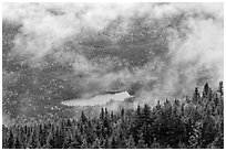 Clouds lifting above fall landscape. Baxter State Park, Maine, USA ( black and white)