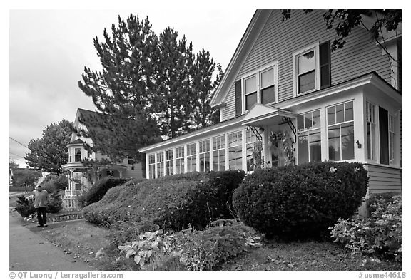 House with New-England style porch, Millinocket. Maine, USA (black and white)