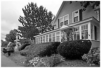 House with New-England style porch, Millinocket. Maine, USA ( black and white)
