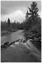 Allagash stream in stormy weather. Allagash Wilderness Waterway, Maine, USA ( black and white)
