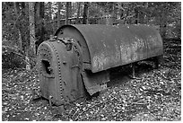 Steam engine remnant in forest. Allagash Wilderness Waterway, Maine, USA ( black and white)