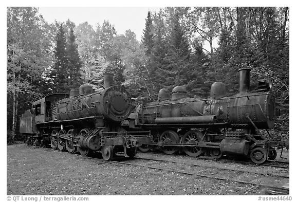 Lacroix locomotives. Allagash Wilderness Waterway, Maine, USA (black and white)