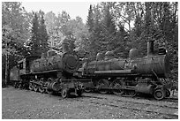 Lacroix locomotives. Allagash Wilderness Waterway, Maine, USA ( black and white)