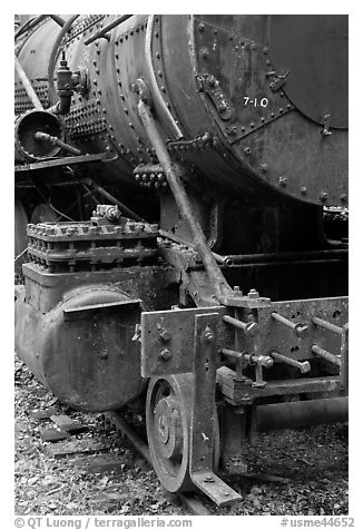 Detail of old steam locomotive. Allagash Wilderness Waterway, Maine, USA (black and white)
