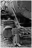 Detail of old steam locomotive. Allagash Wilderness Waterway, Maine, USA ( black and white)