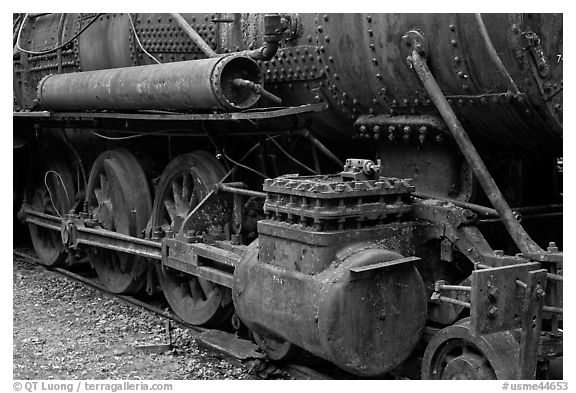 Close-up of vintage Lacroix locomotive. Allagash Wilderness Waterway, Maine, USA (black and white)