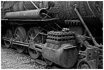 Close-up of vintage Lacroix locomotive. Allagash Wilderness Waterway, Maine, USA ( black and white)