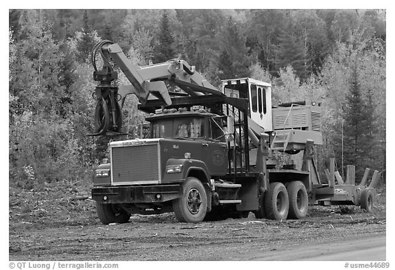 Forestry truck at logging site. Maine, USA (black and white)