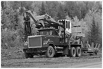 Forestry truck at logging site. Maine, USA ( black and white)