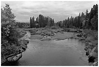 Sand bar, Machias River in autumn. Maine, USA ( black and white)