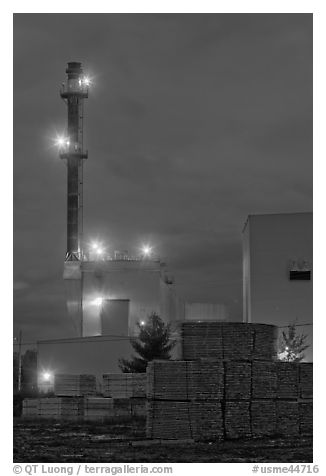 Lumber mill at dusk, Ashland. Maine, USA (black and white)
