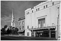 Penobscot Theater and church. Bangor, Maine, USA (black and white)