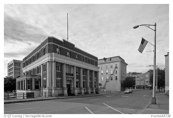 West market square historic district. Bangor, Maine, USA (black and white)
