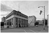 West market square historic district. Bangor, Maine, USA ( black and white)