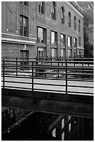 Footbridges to Maine University Art Museum. Bangor, Maine, USA (black and white)