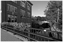 Parks and bridges over Kenduskeag stream. Bangor, Maine, USA (black and white)