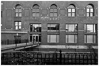 Maine University Art Museum facade. Bangor, Maine, USA (black and white)