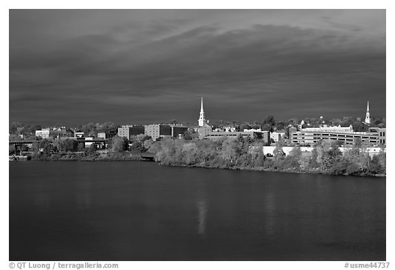 Bangor Skyline with Penobscot River. Bangor, Maine, USA (black and white)