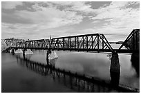 Railroad bridge over Penobscot River. Bangor, Maine, USA ( black and white)