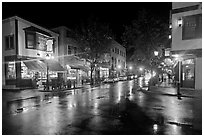 Street corner on rainy night. Bar Harbor, Maine, USA (black and white)