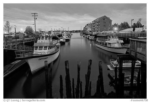 Harbor at dawn. Portland, Maine, USA (black and white)