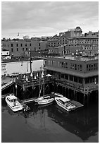 Boats, harbor, and historic buildings. Portland, Maine, USA ( black and white)