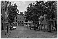 Street with cobblestone pavement. Portland, Maine, USA (black and white)