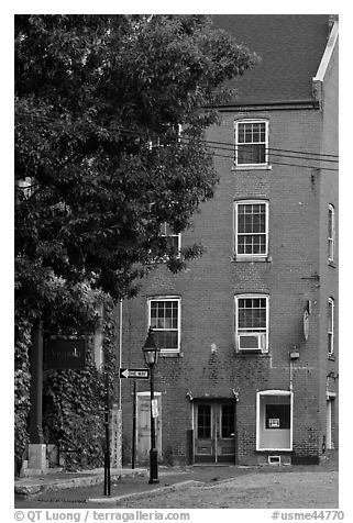 Brick building. Portland, Maine, USA (black and white)