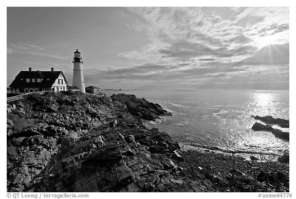 Portland Head Light on shores of Fort Williams Park. Portland, Maine, USA (black and white)