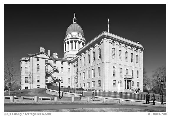 Maine State Capitol. Augusta, Maine, USA (black and white)