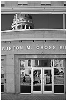 Capitol reflected in Burton Cross Building. Augusta, Maine, USA ( black and white)