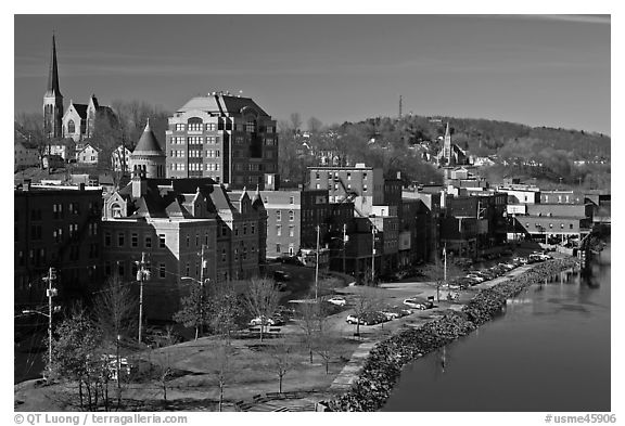 West side riverfront. Augusta, Maine, USA (black and white)