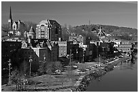 West side riverfront. Augusta, Maine, USA ( black and white)