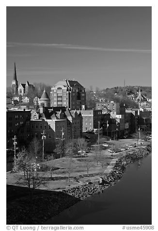 Churches and brick buildings. Augusta, Maine, USA (black and white)