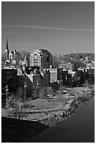 Churches and brick buildings. Augusta, Maine, USA ( black and white)