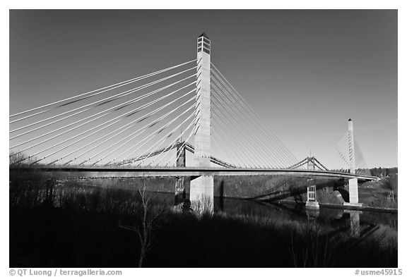 Penobscot Narrows Bridge and Observatory. Maine, USA (black and white)