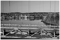 Waldo-Hancock Bridge and Buckport. Maine, USA ( black and white)