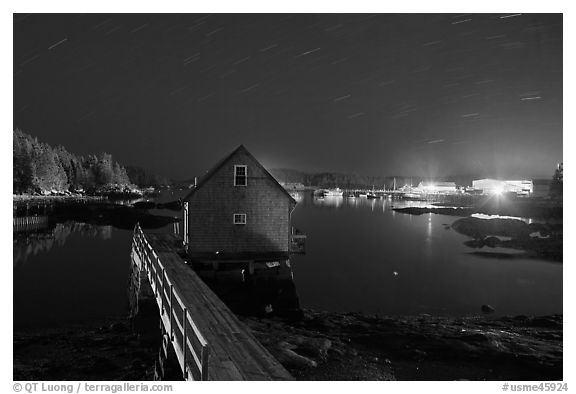 Lobster shack by night. Stonington, Maine, USA (black and white)
