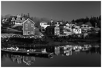 Waterfront in early morning. Stonington, Maine, USA (black and white)