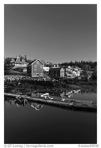 Deck and waterfront. Stonington, Maine, USA (black and white)