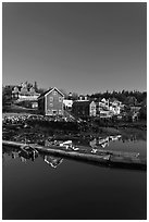 Deck and waterfront. Stonington, Maine, USA ( black and white)