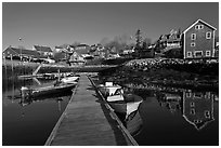 Calm harbor, early morning. Stonington, Maine, USA ( black and white)