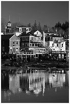 Houses and reflections. Stonington, Maine, USA ( black and white)