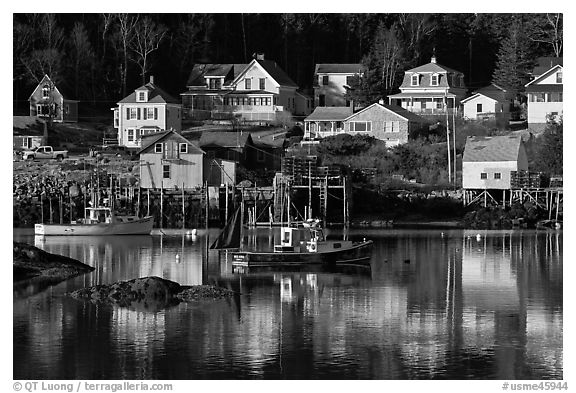 Fishing boats and houses. Stonington, Maine, USA (black and white)