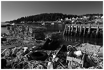Fishing gear and harbor. Stonington, Maine, USA (black and white)